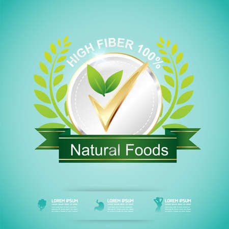 slim: High Fiber Food and Vitamin Vector Concept Label in Background Green