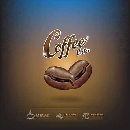 coffee bag: Coffee Bean Vector Template Illustration