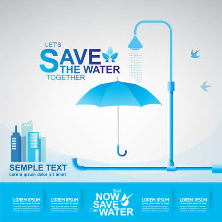 ecological environment: Save Water Vector