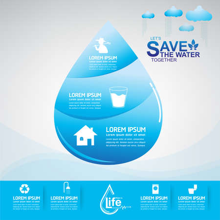 gota de agua: Save Water Vector