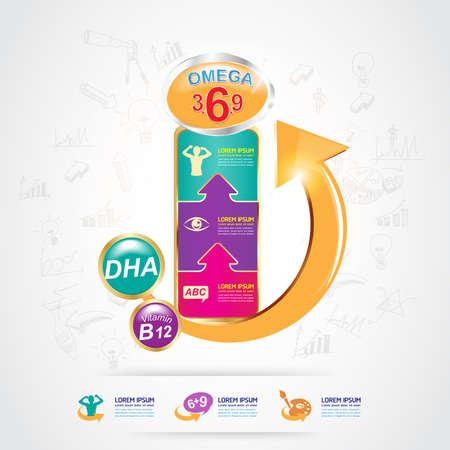vitamin: Kids Omega Calcium and Vitamin Illustration