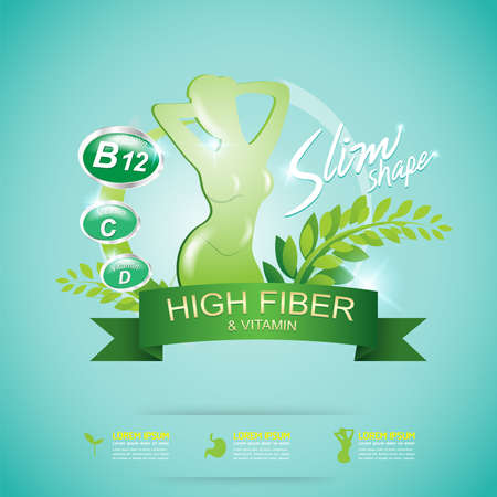 Fiber in Foods and Vitamin Vector Concept Label