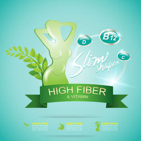 slim: Fiber in Foods and Vitamin Vector Concept Label