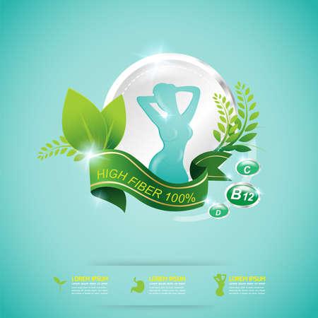 slim: Fiber in Foods and Vitamin Vector Concept Label