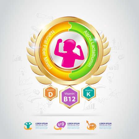 vitamin a: Kids Omega and Vitamin Concept