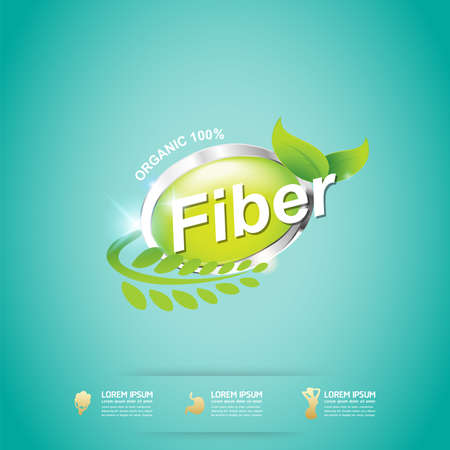 fiber food: Fiber in Foods Slim Shape and Vitamin Concept Label Vector