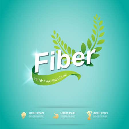 fibers: Fiber in Foods Slim Shape and Vitamin Concept Label Vector