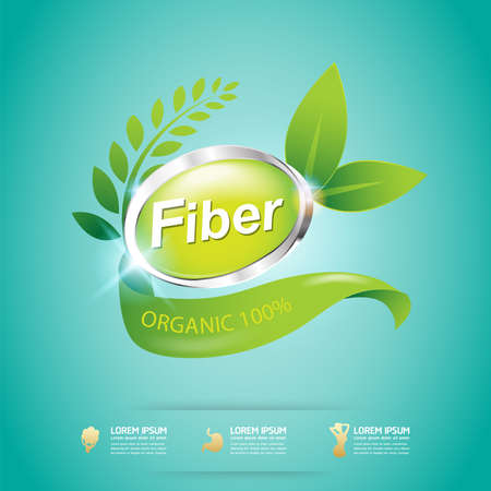 Fiber in Foods Slim Shape and Vitamin Concept Label Vector