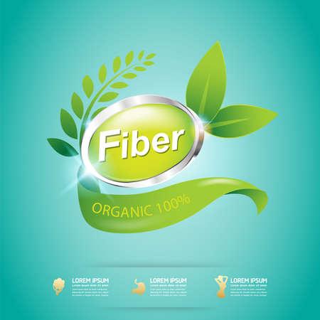 produits céréaliers: Fibre en Forme Foods Slim et de la vitamine Concept vecteur d'étiquettes Illustration