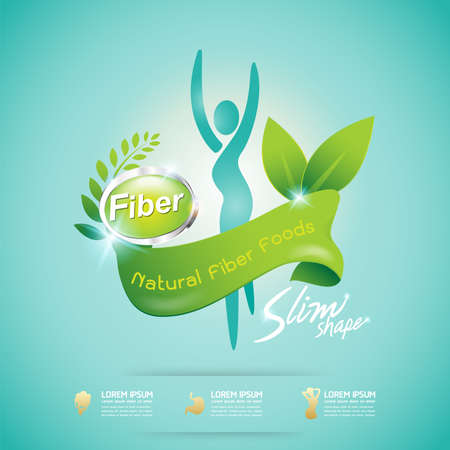 dietary fiber: Fiber in Foods Slim Shape and Vitamin Concept Label Vector