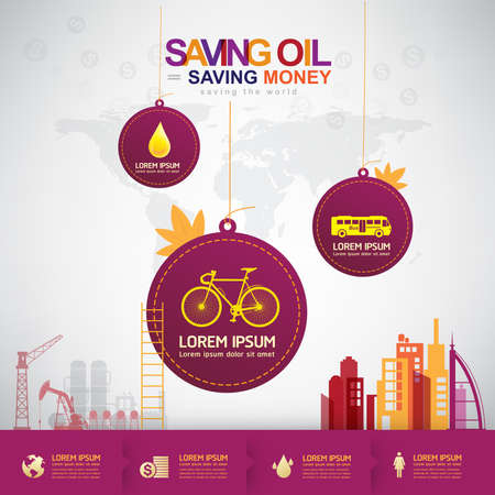 power meter: Oil Vector Concept Saving Oil Saving Money Illustration