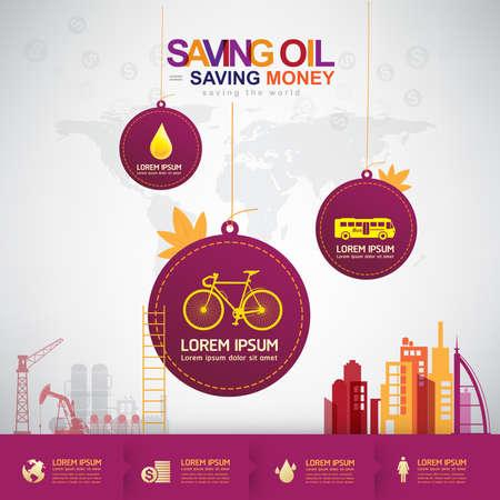 ahorrar agua: Petróleo vectorial Concepto de ahorro de Petróleo Ahorrar Dinero