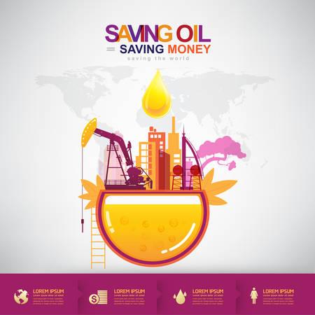 conservation: Oil Vector Concept Saving Oil Saving Money Illustration