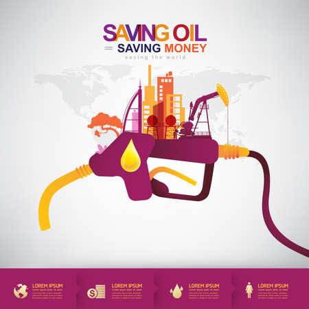 Olie Vector Concept Saving olie Geld besparen