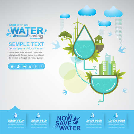 saving: Save Water Vector Concept Ecology Illustration