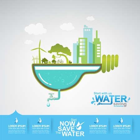 Save Water Vector Concept Ecology Ilustração