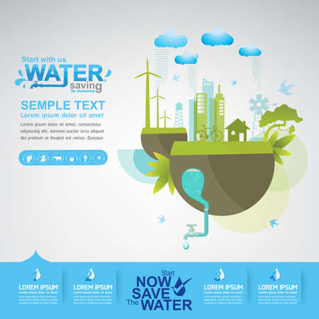 green city: Save Water Vector Concept Ecology Illustration