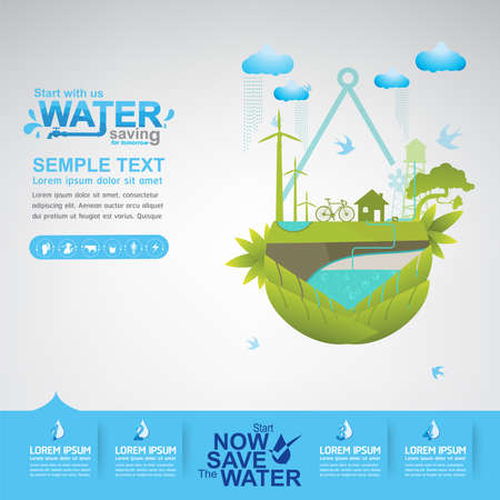 saving: Save Water Illustration