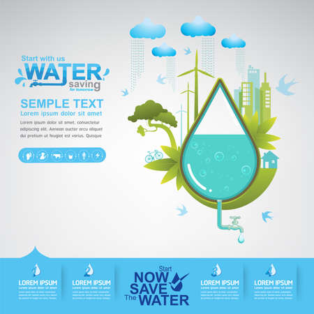 save the earth: Save The Water Vector