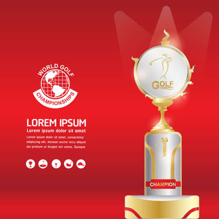 trofeo: Torneo de Golf Mundial Concepto vectorial