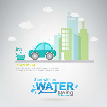 ahorrar agua: Save The Water vector Ecolog�a Concepto