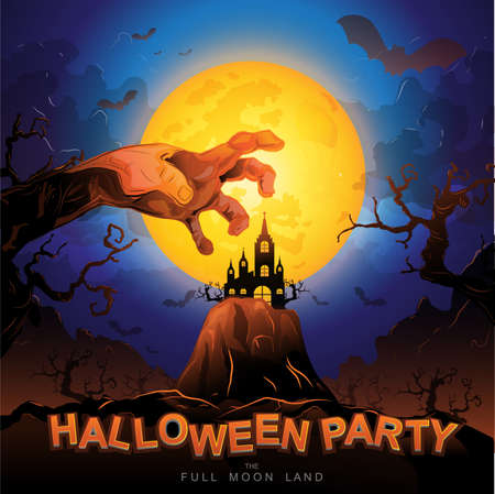 Moonlight lanterns: Đảng Halloween Vector Concept Full Moon Land