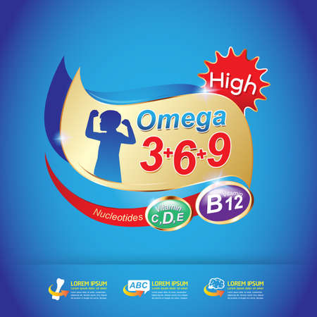 3 d illustrations: Kids Omega and Vitamin Vector concept Illustration