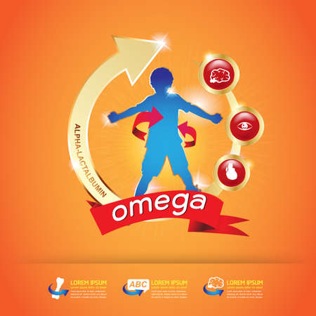 d mark: Kids Omega and Vitamin Vector concept Illustration