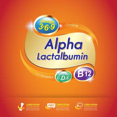 vitamina a: Niños Omega y el concepto vitamina vectorial Vectores