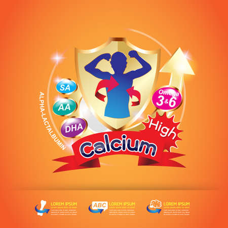 calcium: Kids Omega and Vitamin Vector concept Illustration