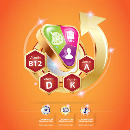 e liquid: Kids Omega and Vitamin Vector concept Illustration