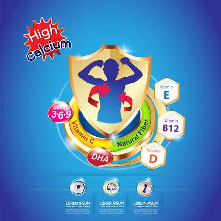 Kids Omega and Vitamin Vector concept Ilustrace