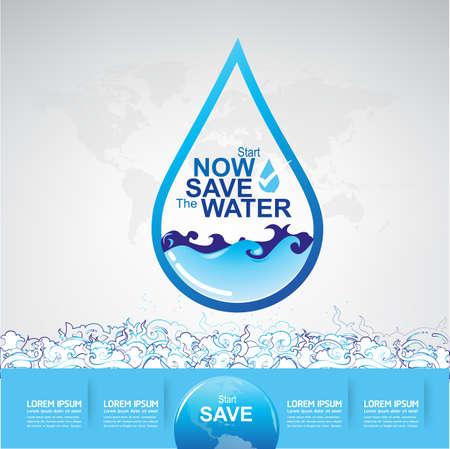 ahorrar agua: Save Water Vector