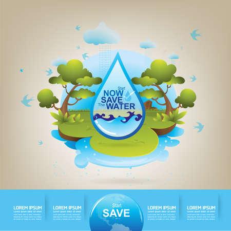 agua: Ecología Save Water Concept Vector