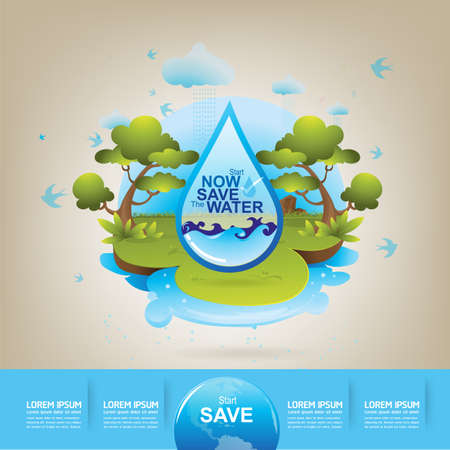 environmental conservation: Save Water Vector Concept Ecology Illustration