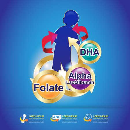 omega: Kids Vitamin Omega 3 Vector Illustration
