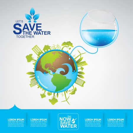 ahorrar agua: Excepto el concepto del agua Vectores