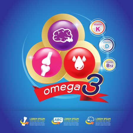 vitamin a: Kids Vitamin Omega 3 Vector Illustration
