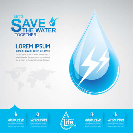 save water: Save The Water Concept Illustration