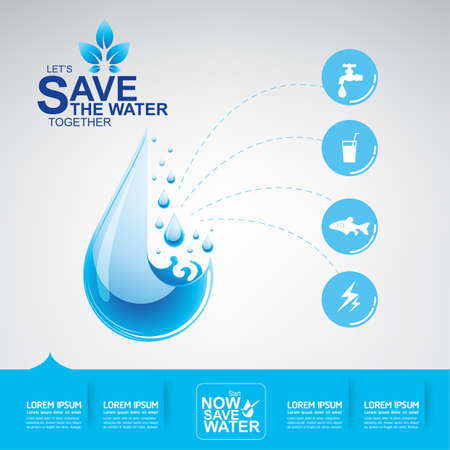 Save The Water Concept 向量圖像