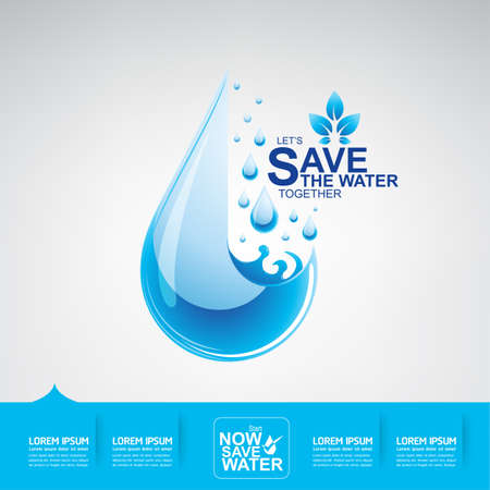 Save The Water Concept 일러스트