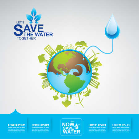 water concept: Save The Water Concept Illustration