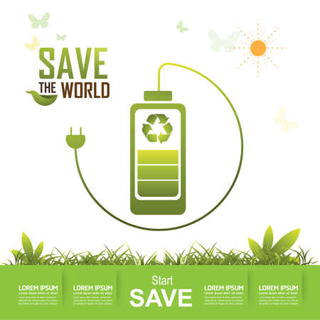 go green concept: Save the World and Go Green Concept