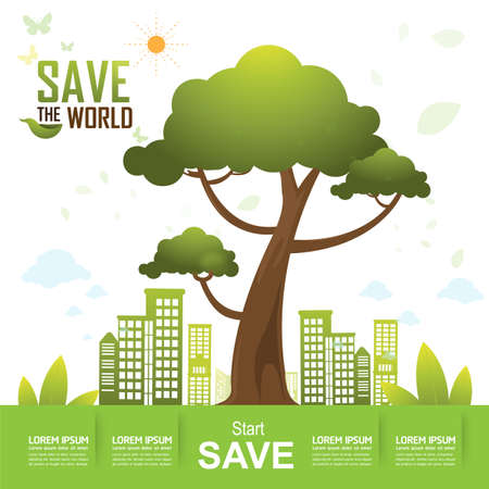 green world: Save the World and Go Green Concept