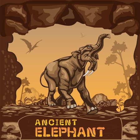 triassic: Ancient Elephant illustration Vector Concept