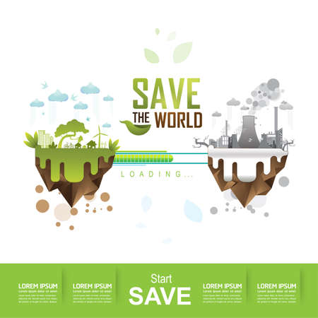 Ecology concept save the world vector Stock Illustratie