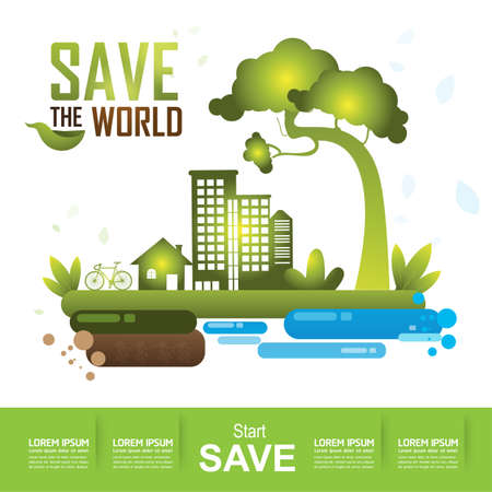 ecological: Ecology concept save the world vector Illustration