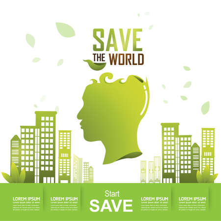 green environment: Ecology concept save the world vector Illustration