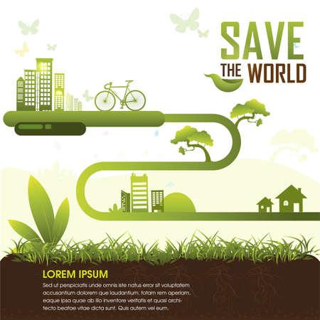verde: Ecología concepto guardar el vector del mundo