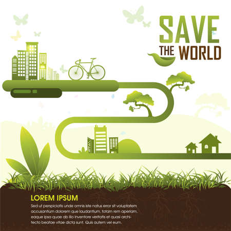 grün: Ökologie-Konzept die Welt retten Vektor